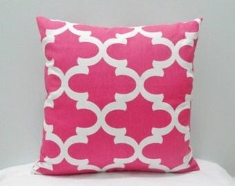 Fynn Candy Pink / White Throw Pillow Cover PillowCase / Sham/ Toss Pillowcase/Lumbar