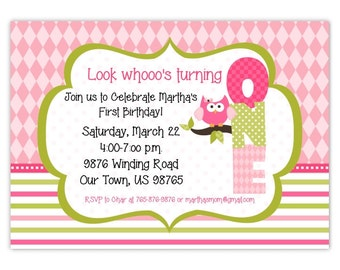 Owl First Birthday Invitation, 1st Birthday Invitation, Owl Birthday Invite, Digital Design - CUSTOM for You - 4x6 or 5x7 size - YOU print