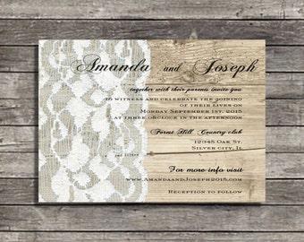 Rustic wedding invitations,  Vintage lace wood invites