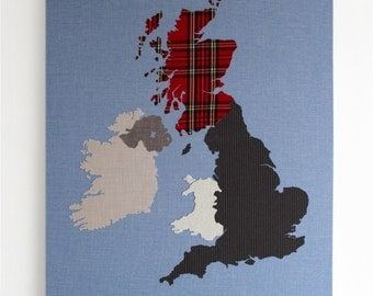 British Isles Fabric Map Wall Art 100x80cm