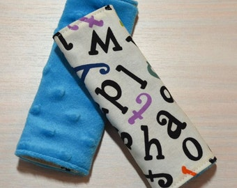 Car Seat Strap Covers - Alphabet