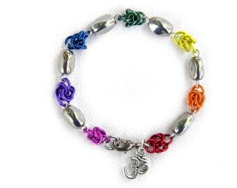 Chakra Chainmail Bracelet with Om Charm - Chainmail Jewelry Chainmaille Bracelet Pride Jewelry Chakra Jewlery