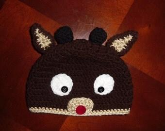 Crochet Rudolph Reindeer Beanie Hat