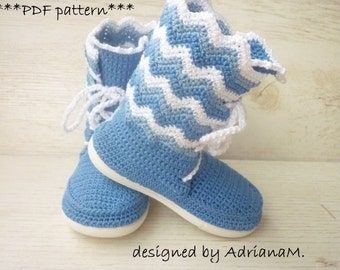 Crochet pattern- outdoor laced-up chevron boots for kids,all kids sizes,toddler,girl,street shoes,rubber soles,footwear,stripped,colors
