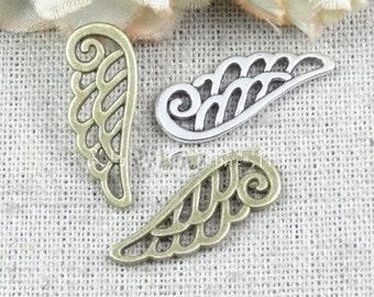 100 pcs of antique bronze hollow bird wings  Charm Pendant 24x9mm