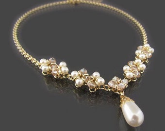 Pearl and crystal Y necklace gold, Bridal Statement Necklace, Pearl Wedding necklace, Crystal pearl bridal necklace