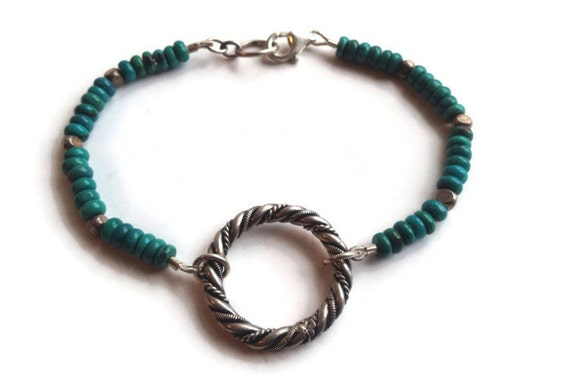 Turquoise Smooth Rondelle/ Sterling Silver Beads/ Sterling Silver Braided Ring/ December Birthstone