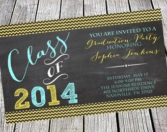 Chalkboard Graduation Invitation or Announcement - Class of 2014, High School, College, Party, Anniversary, Birthday, Wedding, Chevron