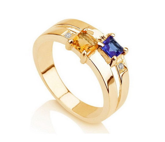 Items similar to Promise Ring Couples Birthstone Ring ...