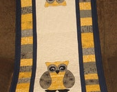 "Night Owl 20"" x 48"" Quilted Table or Dresser Runner, Yellow, Gray, Navy, Owls, Applique, Handmade, Patchwork, Shower, Birthday"