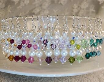 Swarovski Crystal Pearl Cluster Earrings, Ivory Pearl Crystal Earrings, Custom Bridal Earrings,Wedding Accessories, Bridesmaid Earrings