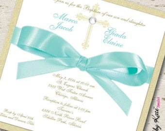 twin baptism invitations