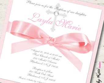Girl Baptism Invitation Girl Christening Invitation