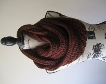 Hand-Crocheted Chocolate Brown Infinity Scarf