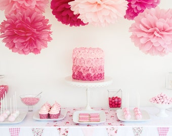 Birthday Decoration, Tissue Paper Pom Pom set of 20 ,CHOOSE YOUR COLORS Wedding Birthday Baby Shower Party decoration