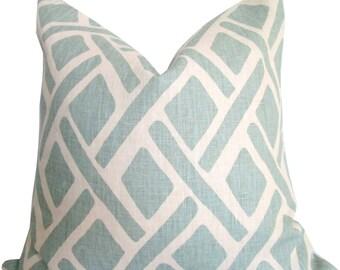 Designer Pillow Cover - Blue Geometric Design -  Kravet - Accent Pillow - Sofa Pillow - Toss Pillow - Throw Pillow - Decorative Pillow Cover