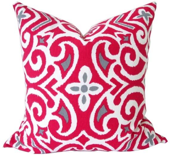 Designer Decorative Pillow Cover-Robert Allen-Fuschia and Gray Damask-Accent Pillow-Sofa Pillow ...