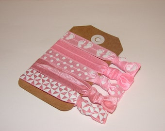 Set of 5 Elastic Hair Ties, Party Favors, Baby Showers, Party Gifts