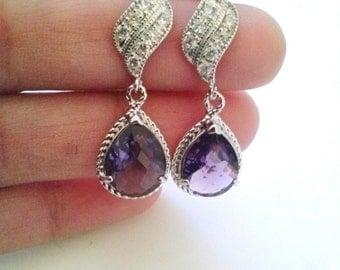 Amethyst purple earrings, wedding prom party purple amethyst glass silver Earrings, weddings jewelry, purple stone Earrings, Bridesmaid gift