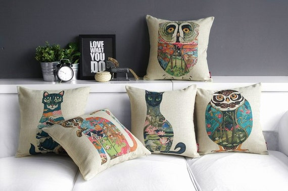 Linen Pillow cover/Decorative throw pillow/Throw cushion/Pillowcase/Decorative pillow cover/scatter cushion,cat,owl