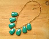 Kelly Green Bib Statement necklace, Chunky Kelly green bib necklace