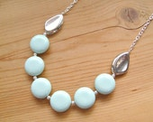 Mint and Silver Statement necklace, Mint Silver long statement necklace
