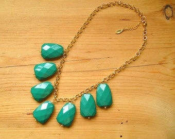 Kelly Green Bib Statement necklace, Chunky Kelly green bib necklace