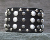 Wide Leather Cuff / Rows of pearls and studs ornament this soft leather cuff / genuine SWAROVSKI elements pearls / etched nickel metal studs