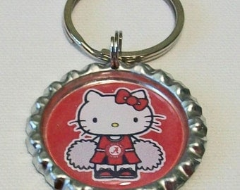 Fun Crimson and White Cheerleader Alabama Inspired Metal Flattened Bottlecap Keychain