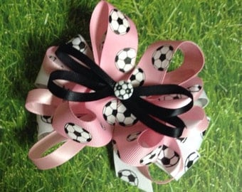 Pink Soccer Bow, Pink Bow, Soccer Ribbon, Soccer Team, Fast Shipping