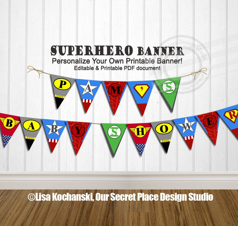 INSTANT DOWNLOAD Editable Superhero Banner Super Hero Banner