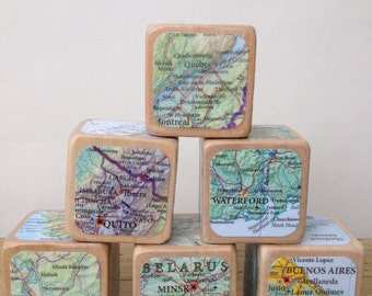 Map Globe Travel // Childrens Blocks // Natural Wood Toy
