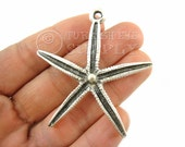StarFish Pendant, Silver Sea Star Pendant, Antique Silver Plated Star Findings, Turkish Jewelry,