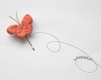 Romantic  3D Butterfly Bobby Pin, Hair Pin, Hair Accessories, Butterfly Head Piece  Celosia Orange, Freesia. Haarklemme
