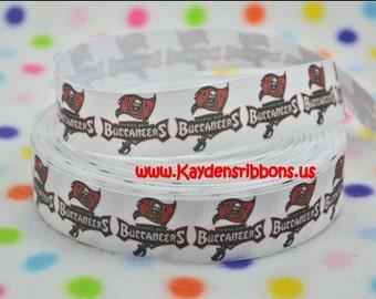 3 yards Tampa Bay Buccaneers - 1 inch - BASKETBALL - Printed Grosgrain Ribbon