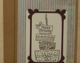 Cake with stripes birthday card