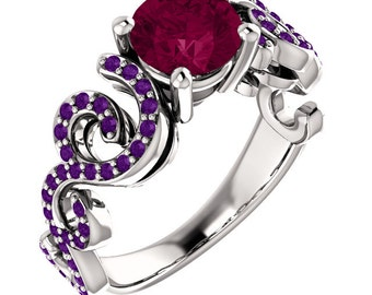 Life's Twists and Turns - Rhodolite Garnet / Amethyst 14K White Gold - All sizes available