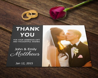 Wedding Thank You Card Template - Photoshop Templates - Photography Postcard PSD - Printable Photo Personalized & Custom WT002