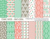 "Tribal ""DIGITAL PAPER"" Ethnic Pattern - Mint Coral"