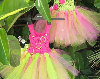 Sweet Briar Rose tutu dress pattern with crochet top, tulle panelled skirt and applique roses in choice of two colors