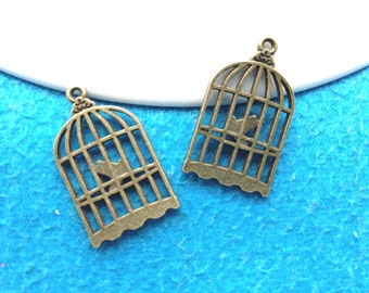 30pc antique bronze 16mmx11mm birdcage charms pendant