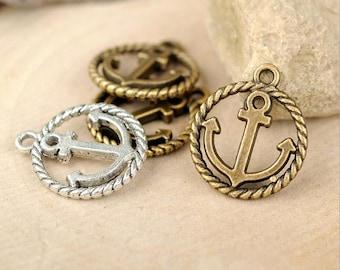 30pc antique bronze anchor charms pendant 20mmx15mm