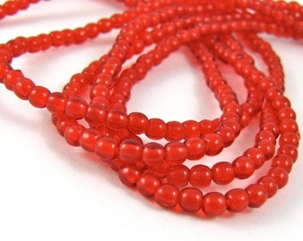 Siam Ruby Red 3mm Smooth Round Czech Glass  Beads 100pc #1646