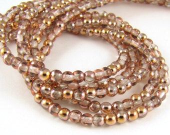 Apollo Gold Crystal 4mm  Round Czech Glass  Beads 100pc #341