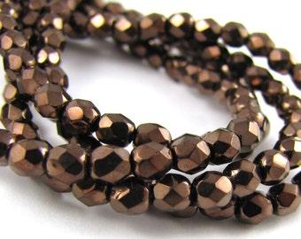 Metallic Dark Bronze 4mm Facet Round Czech Glass Fire Polished Beads 50pc #172