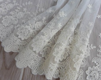 Ivory Embroidery Rose Lace Trim, Wide Mesh Lace Trim, Cotton Lace Fabric Trim for Apparel Supplies