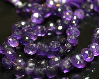 Purple Amethyst Faceted Onion Briolettes, Size 6 - 7 mm Approx,  GM0101FO/6 #120