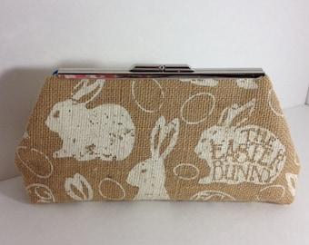 Easter Bunny Rabbit Burlap Clutch Purse