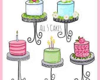 Cakes, set of 5  - Original Art Digital Download, cake clip art, cake on stand art, cake on pedestal art