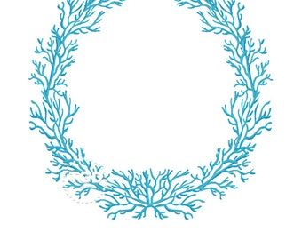 Turquoise Coral Frame - Original art download, turquoise coral wreath, coral frame, preppy frame, preppy pink theme, preppy coral